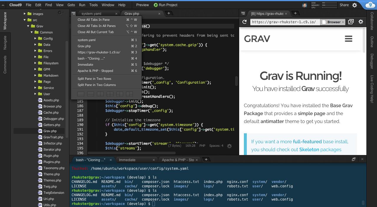 Cloud Ides Zero To Code In Seconds Grav Cms